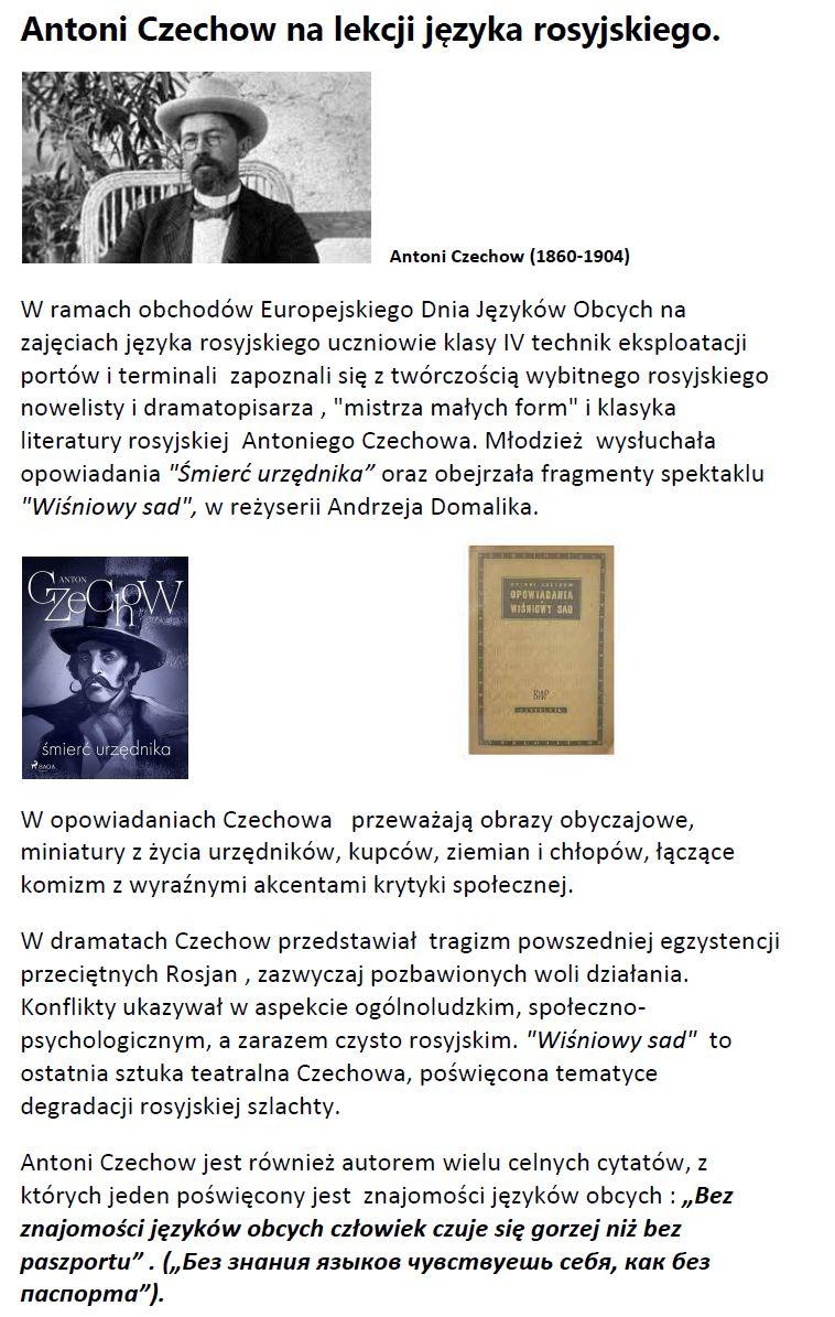 Read more about the article Antoni Czechow nalekcji języka rosyjskiego